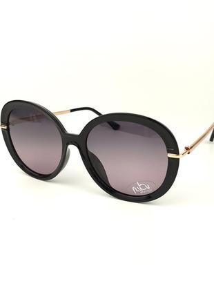 Женские солнцезащитные очки flyby «emma» в черном цвете с линзой розово-зеленый градиент