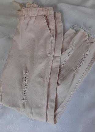 Джинсы катоновые бриджы брюки капри