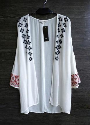 Легкий кардиган вышиванка кимоно из натуральной ткани f&f.