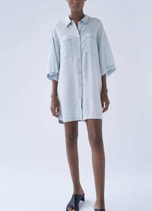 Плаття -рубашка zara, легке, розмір м-л🔥