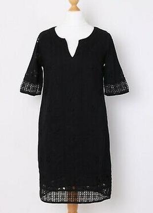 Базовое хлопковое платье- футляр миди длины прошва кружево кроше monsoon в идеале