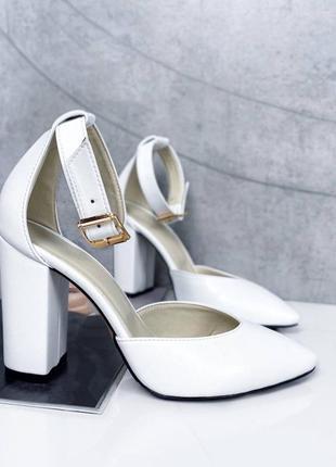 Белые туфли натуральная кожа