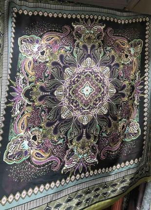 Платок из шелка, шелковый платок винтаж, палантин, черный,розовый,мята