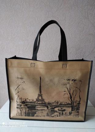 Сумка для покупок, париж, женская сумка, шоппер, еко сумка спанбонд