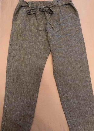 Tu. брюки летние прямые из льна р. 48 - 50 ( uk 14)