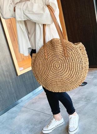Летняя пляжная круглая вязаная сумка под соломку плетёная сумка капучино