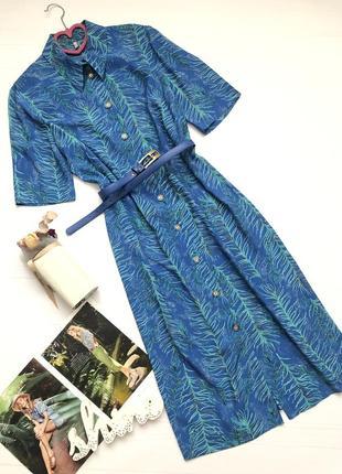 Винтажное платье рубашка длина миди  с поясом