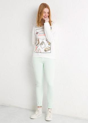Мятные джинсы скинни  на высокой талии zara pull&bear