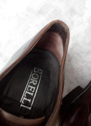 Borelli  италия туфли дерби кожа р 41 коричневые7 фото