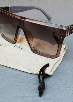 Louis vuitton очки маска женские солнцезащитные коричневые с сирнневым градиент