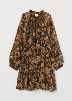 Шифоновое платье свободного кроя в цветы с новой коллекции h&m