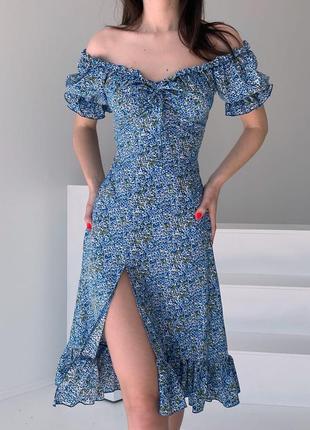 Платье цветы, голубой цвет