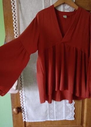 Терракотовая блуза в стиле бохо4 фото