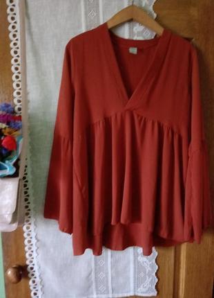Терракотовая блуза в стиле бохо3 фото
