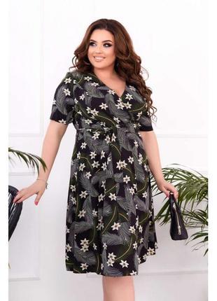Платье - цвет черный цветочный принт
