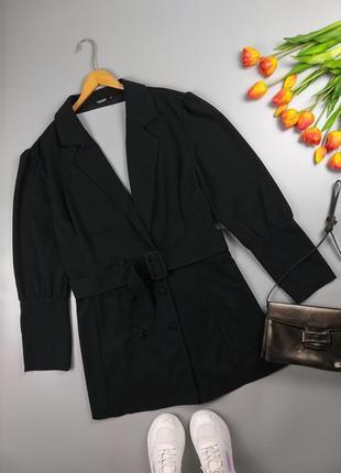 Платье-туника пиджак черное с поясом от shein