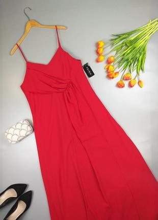 Платье комбинация красное макси 20р.