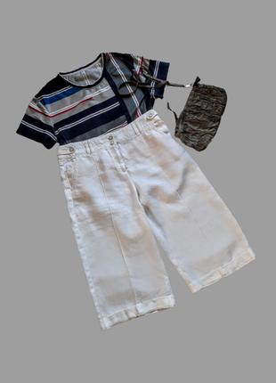 Летние льняные белые  брюки кюлоты