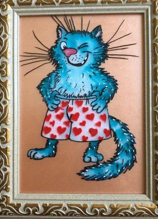 Витражная картина (синий кот)