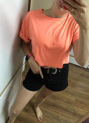 Яркая неоновая топ футболка оранжевая topshop