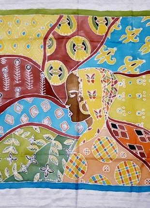 Картина на шёлке в стиле батик африка