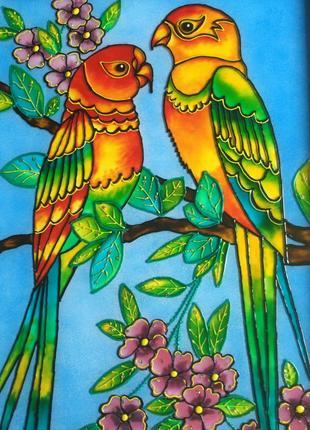 Витражная картина (попугаи)