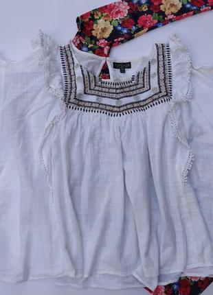 Новая блуза топ вышивка котон натуральная ткань большого размера