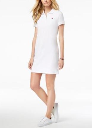 Белое платье поло tommy hilfiger, размер l.