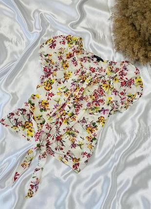 Цветочная блуза с завязками спереди amisu 1+1=3