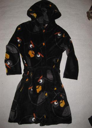 9-11 лет, мягусенький махровый халат angry birds, пушистый!