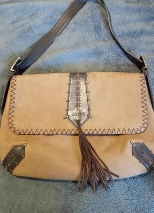 Стильна коричнева замшева жіноча сумка esprit через плече.