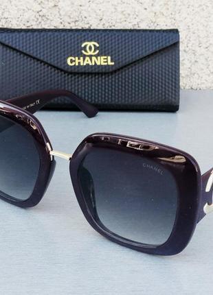 Chanel очки женские солнцезащитные большие фиолетовый баклажан с градиентом