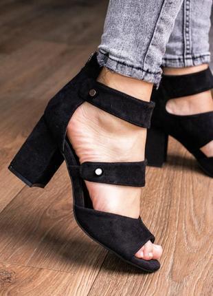 Туфли босоножки женские замшевые черные на каблуке летние новые - черные женские туфли 2021