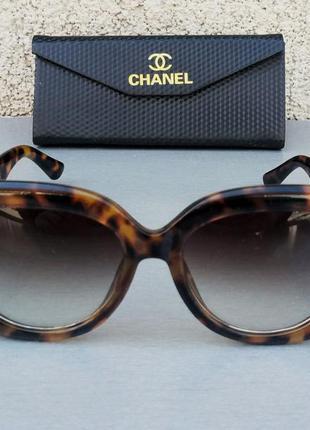 Chanel очки женские солнцезащитные большие коричневые тигровые с градиентом