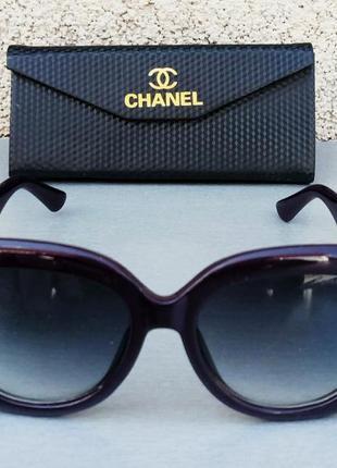 Chanel очки женские солнцезащитные большие фиолетовый баклажан с золотым лого