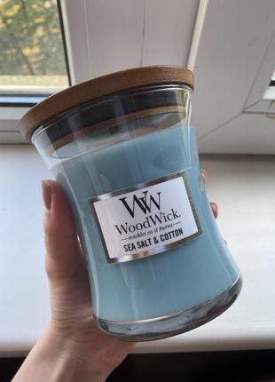 Свеча woodwick sea salt and cotton оригинал