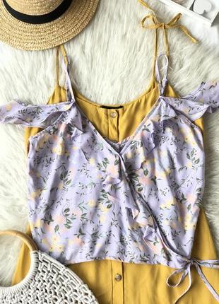 Красивая легкая вискозная блуза лилового цвета в цветочный принт 🌿
