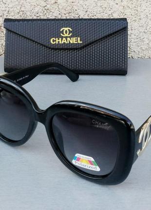 Chanel очки женские солнцезащитные большие черные с золотым лого поляризированые