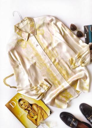 Рубашка бежевая оверсайз шелк винтаж escada оригинал