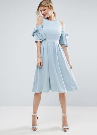 Платье asos, платье миди, платье с открытой спиной, голубое платье, воздушное платье