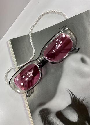 Солнцезащитные очки трендовые, розовые, в стиле 90х , винтаж, окуляри