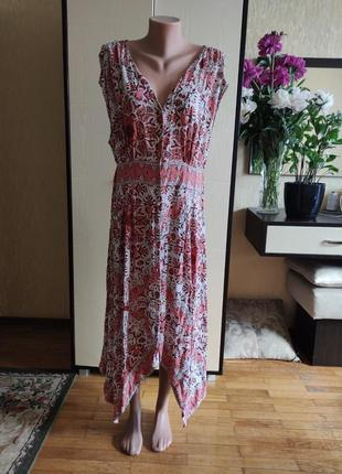 Вискозное плптье сарафан на пуговицах плаття евро 14