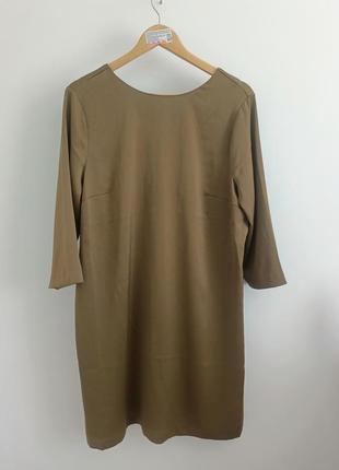 Красивое платье оливкового цвета с интерсной спинкой h&m