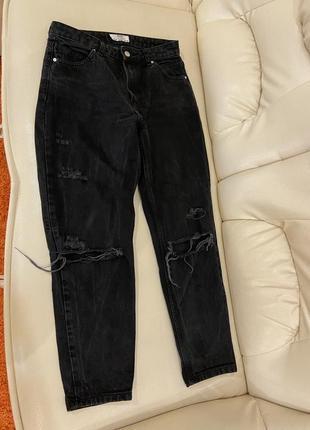 Рваные мом mom джинсы темно серые