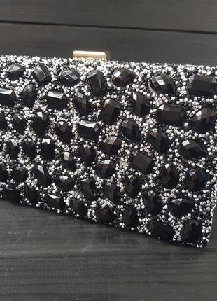 Невероятно эффектный🖤 вечерний клатч сумочка на цепочке черный камни