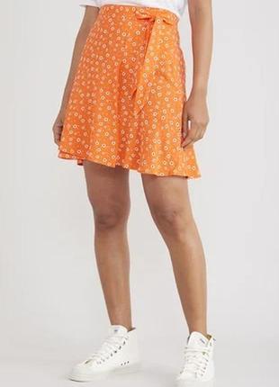 Яркая новая мини юбка принт , вискоза, uk 16