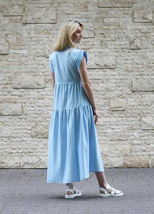 Платье длинное с воланами лен италия