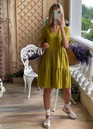 Элегантное платье, р. 42,44,46,48,50,52, лен, горчица