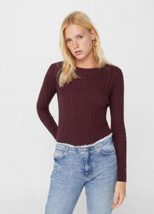 Пуловер свитер в составе шерсть мериноса косы на размеры 38-40 евро m/l h&m