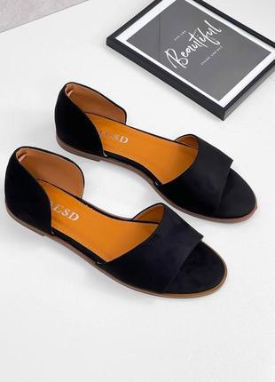 Стильные черные женские замшевые босоножки luxor